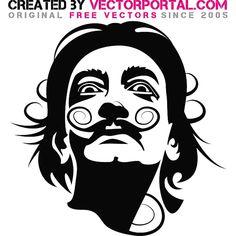 Salvador Dali vector portrait.