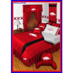 Arkansas Razorbacks NCAA 6pc Sidelines Queen Comforter/Sheets Bed Room Set