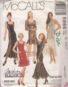 McCall's 6866 Retro 90's Sewing Pattern AMAZING Scoop Neck Fashion Basics Formal Cocktail Party Dress Set,   CAR WASH PANELS, Flamenco Mermaid Skirt, Tiered, Flounced THE BEST!