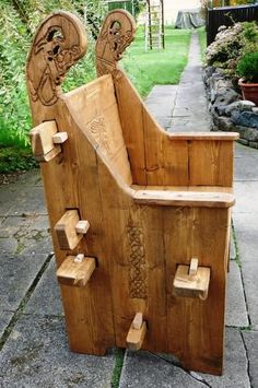 Different style of peg together chair. Like the lower back and carvings.