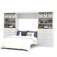 """Bestar Pur 131"""""""" Full Wall Bed with 2 Piece 6-Drawer Storage Unit (3,780 CAD) ❤ liked on Polyvore featuring home, furniture, beds, white, drawer bed, white furniture, white bed, systems furniture and drawer furniture"""