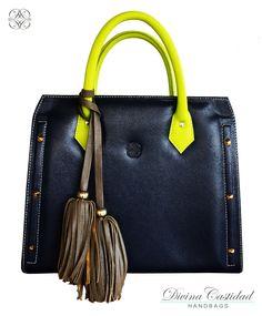 60f4f4102d2 Portafolio en cuero azul navy x manijas limón neón y pompón almendra. Fall  in Love Collection 13 Divina Castidad Handbags