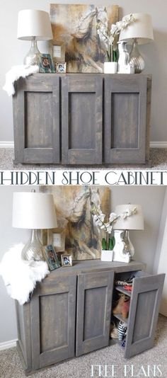 Hidden Shoe Cabinet With Shoe Storage #cabinet #hiddenstorage Diy Furniture  Projects, Woodworking Furniture