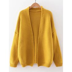 Yellow Open Front Drop Shoulder Cardigan (635 MXN) ❤ liked on Polyvore featuring tops, cardigans, sweaters, shirts, short-sleeve cardigan, long open front cardigan, brown cardigan, yellow shirt and long brown cardigan