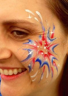 patriotic fireworks - TAG pearl red white blue with flat brush and Snazaroo white, size 3 round brush Girl Face Painting, Face Painting Designs, Body Painting, Face Paintings, Painting Tutorials, Football Face Paint, 4th Of July Makeup, Kids Makeup, Eye Art