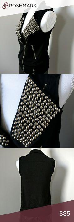 Rock & Roll Black Vest with silver embellishments Black Vest Jackets & Coats Vests