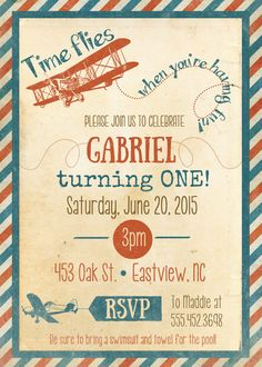 Red Blue Airplane Vintage Invite Time flies by themilkandcreamco
