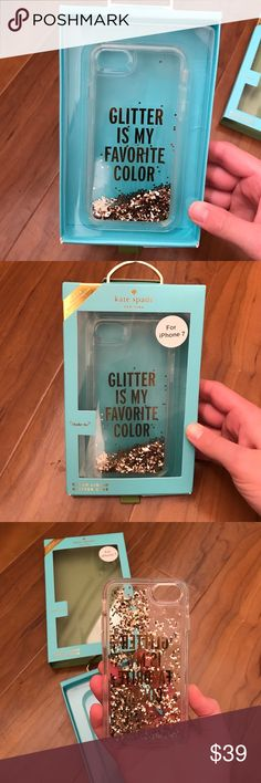 """Kate Spade iPhone 7 Case Designed for iPhone 7. Clear case with Glitter that moves about inside of case as phone is tilted. Never used. In original packaging. Reads """"Glitter is my Favorite Color"""" kate spade Accessories Phone Cases"""