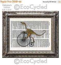 New to EcoCycled on Etsy: SALE Velociraptor on Penny Farthing Velocipede Dinosaur on Vintage Upcycled Dictionary Art Print Book Art Print Recycled Amazing Animalia (8.50 USD)