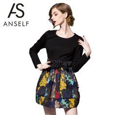 New Fashion Women Dress Print Bowknot Back Zipper Round Neck Long Sleeve Mini Party Dress Black