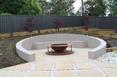 82 Outdoor Fire Pit Seating Design Ideas for Backyard Fire Pit Seating, Fire Pit Area, Outdoor Seating Areas, Garden Seating Areas, Outside Seating Area, Patio Seating, Sunken Fire Pits, Concrete Fire Pits, Garden Fire Pit