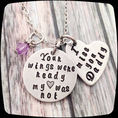 Sympathy Gift, Your wings were ready my heart was not, Remembrance Gift Necklace, Memorial Jewelry, Loss of Father, Funeral Gift
