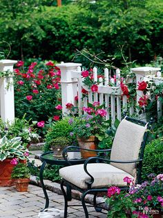 Low-maintenance vinyl provides an updated look to the classic white picket fence. It keeps its pristine look -- and you never need to paint it because you buy in the color you want -- white in this case.Here's a hint: If a white fence feels stark in your yard, soften it by weaving rambling roses, clematis, or other plants through the pickets./