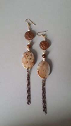 Brown Fossil Bead and Chain Earrings - JewelsByElan.com