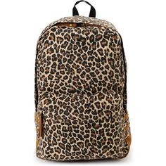 Carrot Company Leopard Print Beige Canvas Backpack ($50) ❤ liked on Polyvore