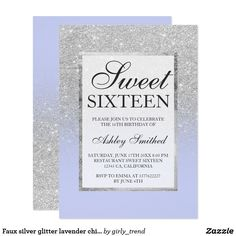 Faux silver glitter lavender chic Sweet 16 Card