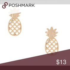 "Pineapple Cutout Stud Earrings Lead/Nickel Compliant Drop Approximately 0.7"" Post Back Silver and Gold. Tell me which color you would like. Price is firm! This the most reasonable price I can give. 😊thanks Jewelry Earrings"