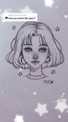 Art Drawings Sketches Simple, Pencil Art Drawings, Cute Drawings, Simple Face Drawing, Art Tutorials, Anime Drawing Tutorials, Cartoon Drawing Tutorial, Sketches Tutorial, Art Drawings Beautiful