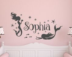 Girl Wall Decal Name- Mermaid Wall Decal Girls Room- Personalized Girls Name Wall Decal- Wall Decal Girls Room Bedroom Mermaid Decor 152 Mermaid Wall Decals, Name Wall Decals, Kids Wall Decals, Nursery Wall Decals, Mermaid Bathroom Decor, Mermaid Bedroom, Mermaid Bedding, Little Mermaid Nursery, Personalised Wall Stickers