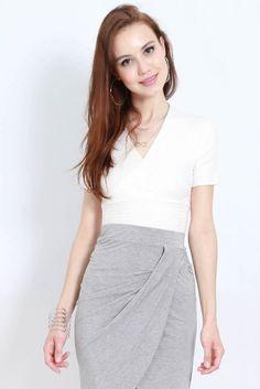 Kierra Wrap Top (White) Skirts, Shopping, Collection, Tops, Fashion, Moda, Fashion Styles, Skirt