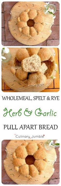 Delicious, good for you and completely homemade herb and garlic bread has so much flavour from the wholemeal, rye and spelt flour!