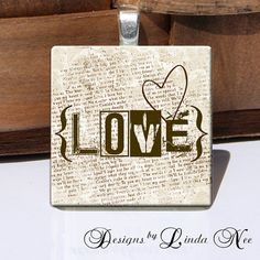 Vintage Love 1 x 1 Inch Images Digital by DesignsbyLindaNee, $3.95