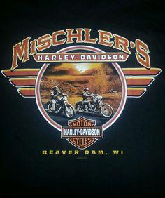 Harley Davidson Motorcycles Men's T-shirt L Black Beaver Dam WI Great Shape #HarleyDavidson #BasicTee