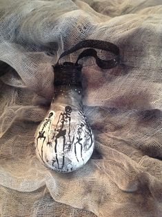 Hand Painted Gothic Ornament using Burnt Out Light Bulb for a Halloween of Haunted Christmas Tree