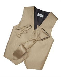 A textured diamond pattern lends modern appeal to this classic golden five-button vest. An adjustabl