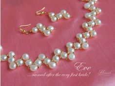 Eve, from our wedding collections. Pearl Necklace Designs, Beaded Necklace Patterns, Beaded Jewelry Designs, Handmade Beaded Jewelry, Seed Bead Jewelry, Bead Jewellery, Diy Necklace, Beaded Earrings, How To Make Necklaces