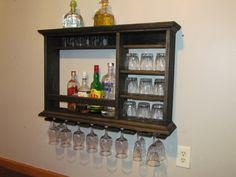 Hanging Bar Mini Bar 3' x  2' Ebony Stain wall by DogWoodShop