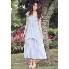 $16.98 Short Sleeves V-Neck Chiffon Flounce Edge Bohemian Style Maxi-Dress For Women