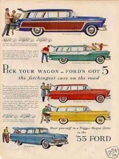 Ford Wagons Ad 5 Models (1955)