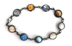 Yugen Solar System Galaxy Bracelet - Milky Way, Planets (Antique Bronze) Milky Way Planets, Solar System, Link Bracelets, Antique Silver, Jewelry Design, Bronze, Antiques, Detail, Stuff To Buy
