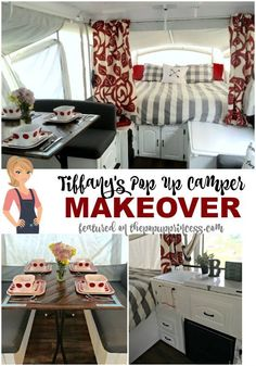 Tiffany's Pop Up Camper Makeover - Inspired by the pop up camper makeovers she'd seen on the blog, Tiffany gave her own home away from home a little face lift.  She created a gorgeous, unique space to retreat to after a long day of camping.  This little tent trailer makeover is amazing!