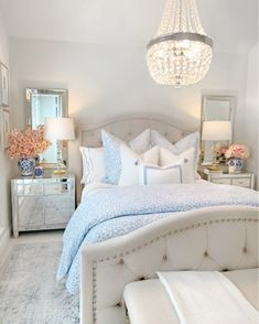 Blue Master Bedroom, Guest Bedroom Decor, Glam Bedroom, Room Ideas Bedroom, Guest Bedrooms, Home Bedroom, Guest Room, Glam Bedding, Preppy Bedroom