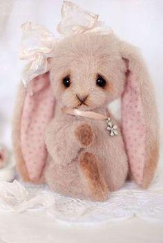little pink bunny / cute stuffed animals Felt Animals, Cute Animals, Cute Stuffed Animals, Bear Doll, Monkey Doll, Animal Alphabet, Cute Bears, Cute Pink, Art Dolls