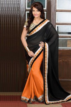 Andaaz Fashion new arrival Black Orange Georgette Silk Saree with Jacquard Blouse and Plain Pallu. Embellished with Resham, Zari work with price RM269.00  http://www.andaazfashion.com.my/womens/sarees/bestseller