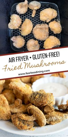 These delicious air fryer mushrooms make a delicious appetizer or snack. Use button or shiitake mushrooms or any type. Make gluten free by using gluten free bread crumbs. Air fried makes them crispy on the outside, but juicy on the inside with half the fat! fearlessdining Air Fryer Recipes Gluten Free, Gluten Free Party Food, Gluten Free Appetizers, Yummy Appetizers, Battered Mushrooms, Breaded Mushrooms, Stuffed Mushrooms, Tempura Vegetables, Veggies