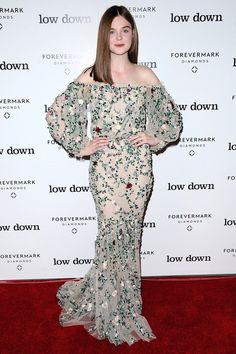 Elle Fanning sported a grown-up, off-the-shoulder look for a film premiere in Los Angeles.