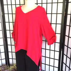 ❤️Sexy NWT Red Michael Kors Asymmetrical Tunic❤️ Flowy Red MK Asymmetrical Tunic w/ 3/4 tab sleeves & gold hardware. New w/ tags. Super cute w/ palazzos jeans or leggings Michael Kors Tops Tunics