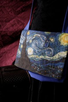 TARDIS Starry Night Dr Who purse from Vincent and the Doctor Custom Made over-the-shoulder bag with pockets lined with satin