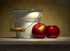 Ted Polomis  Pail with Apples  12 X 16 in.  oil on panel