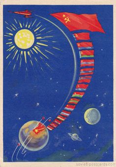 Space rocket postcard 1959, artist K. Mistakidi, space race Earth planets space ship Cosmonautics Day, unused collectible postcard by…