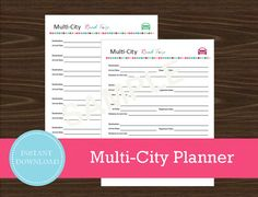 Multi-City Road Trip Planner  Vacation Planner  by RoadTripBlogger Road Trip Planner, Vacation Planner, Travel Planner, Travel Hacks, Travel Tips, City Road, Road Trippin, Printable Planner, Planners
