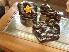 Handmade crochet baby boy military army outfit 3 6 months new soft yarn