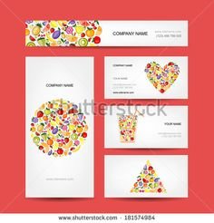 Business cards design, fruit collection - stock vector