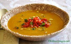 Butternut Squash Soup with Apple & Pomegranate Salsa healthy vegan recipe here: http://www.ordinaryvegan.net/squashsoup/