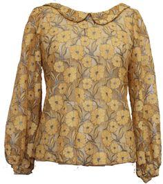 Yellow floral lace Peter Pan collar blouse