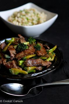 Chinese Beef and Broccoli Stir-Fry...A quick and healthy dinner from the new Skinnytaste Cookbook! | cookincanuck.com #recipe
